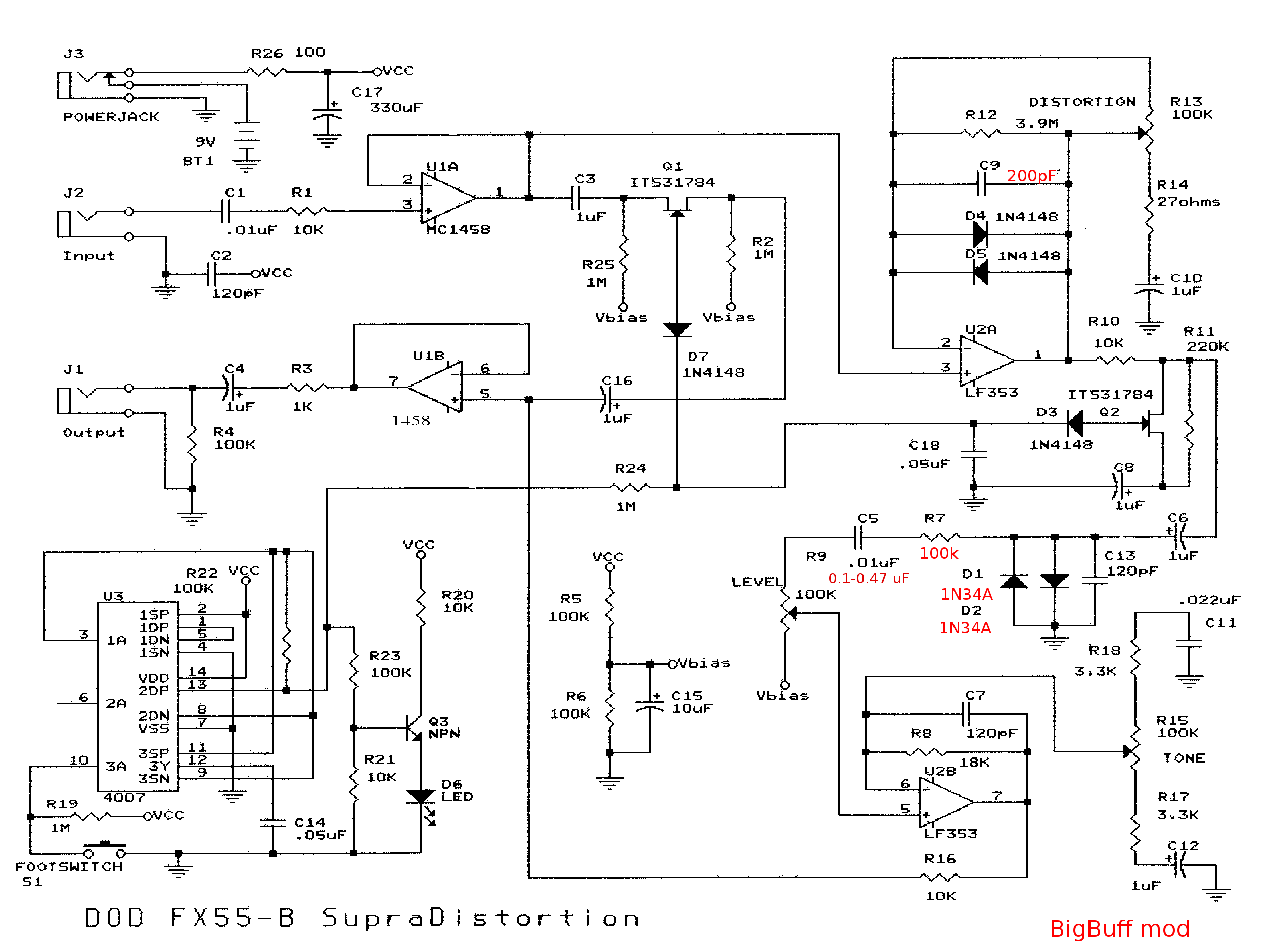 Schematic Notes To Self Voltagecontrolledresistor Measuringandtestcircuit Circuit Dodfx55b Bigbuff Mod